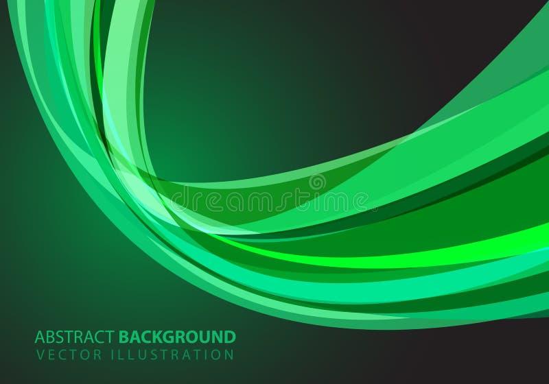 摘要绿色玻璃曲线光设计现代未来派豪华背景传染媒介 皇族释放例证