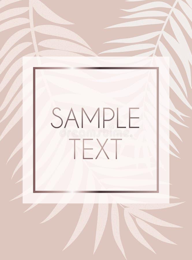 摘要罗斯金子Beautifil棕榈树叶子剪影背景传染媒介例证 库存例证