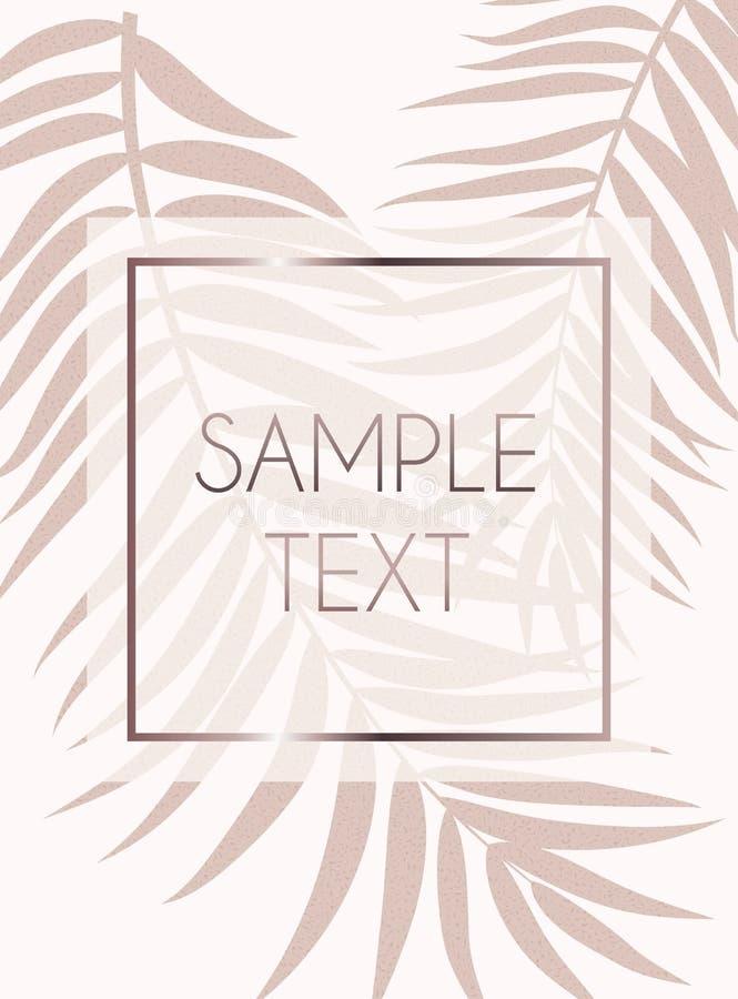 摘要罗斯金子Beautifil棕榈树叶子剪影背景传染媒介例证 向量例证