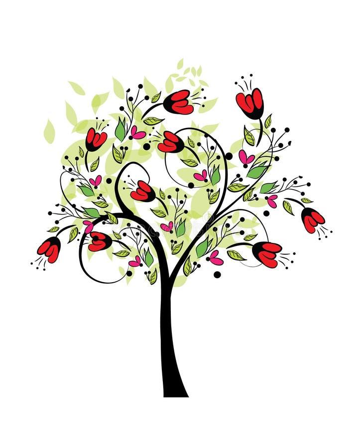 摘要色的春天树传染媒介illutration 皇族释放例证