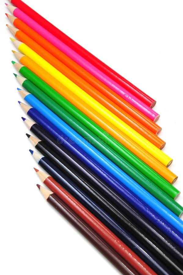 摘要色的铅笔verticle 免版税库存照片