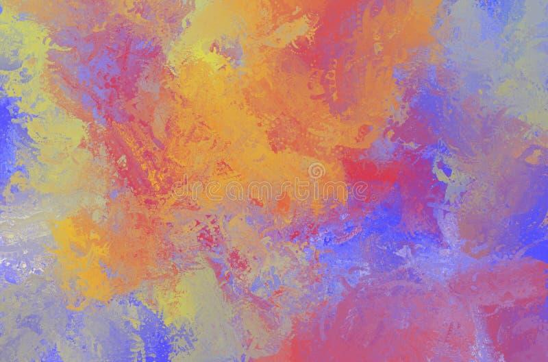 摘要艺术性的绘的颜色纹理 多色帆布 库存例证