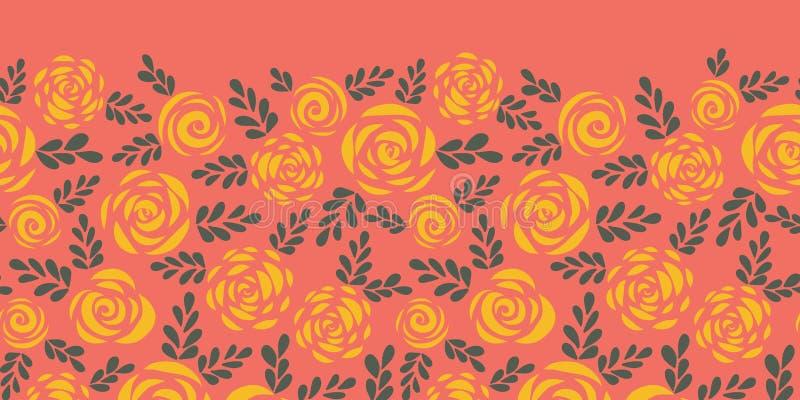 摘要花卉无缝的传染媒介边界 斯堪的纳维亚样式玫瑰和叶子红珊瑚黄色 花剪影 样式边界 向量例证