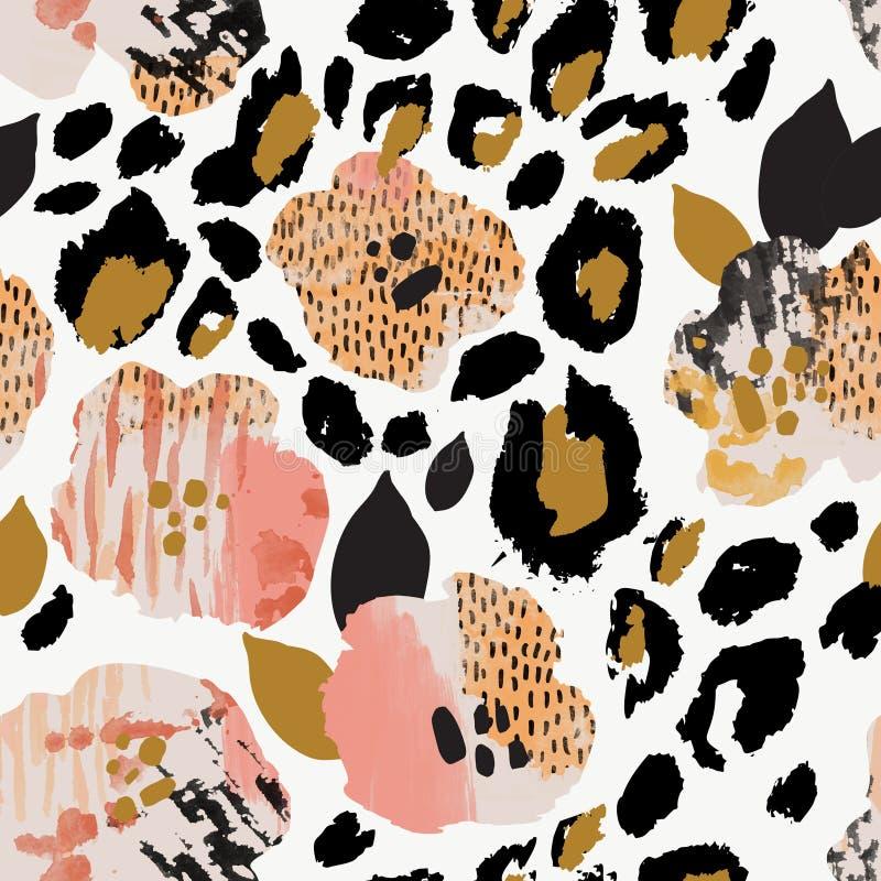 摘要花卉无缝的样式:与斑马条纹,豹子皮肤印刷品的花 皇族释放例证