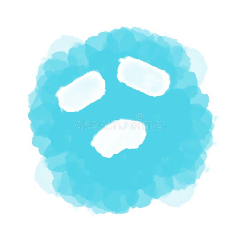 摘要蓝色哀伤的emoji/意思号在白色 向量例证