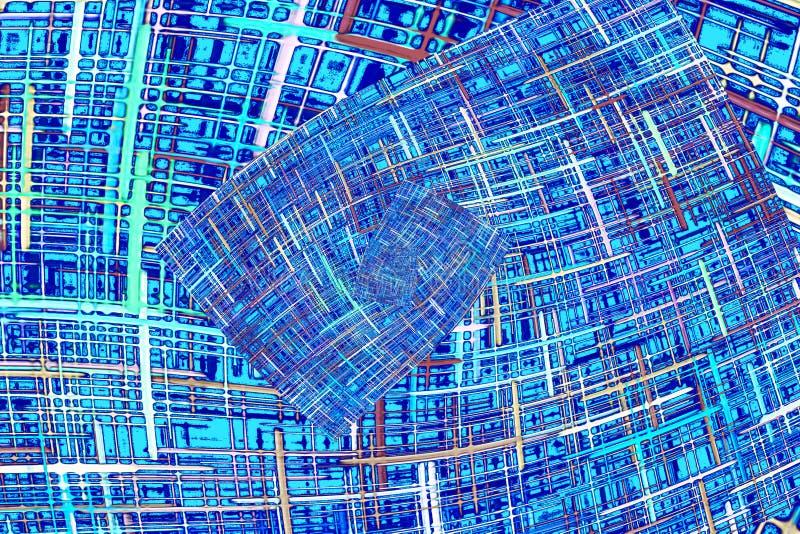 摘要蓝色方格的分数维样式 可笑的背景 皇族释放例证