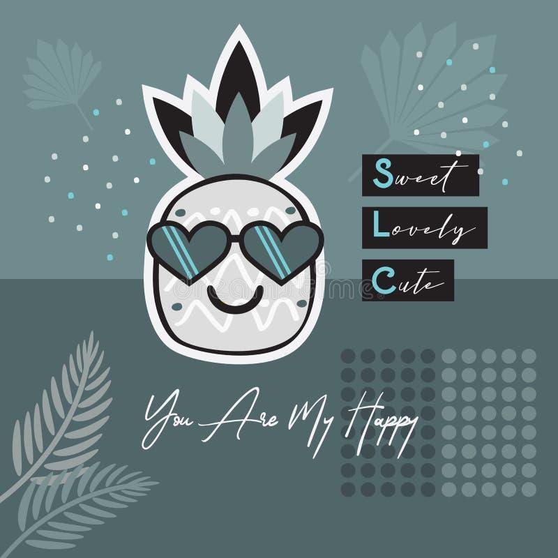 摘要蓝色热带菠萝emoji佩带的心脏太阳镜卡片 皇族释放例证