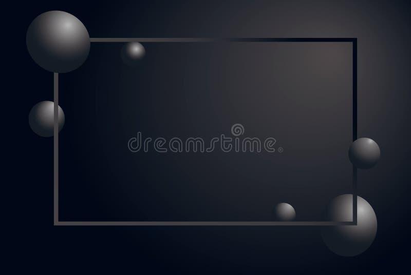 摘要表面无光泽的黑背景 与3d球形的灰色水平的豪华框架成群 银色泡影 r 库存例证