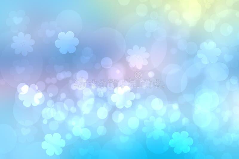 摘要被弄脏的生动的春天夏天轻的精美淡色蓝色桃红色bokeh背景纹理用明亮的软的颜色樱桃 向量例证