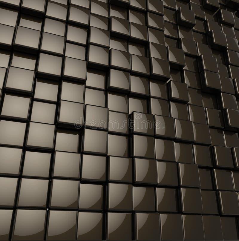 摘要被环绕的光滑的黑立方体 向量例证