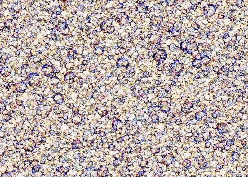 摘要被绘在小卵石背景的透明海泡沫 库存图片