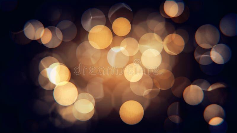 摘要被隔绝的被弄脏的欢乐黄色和橙色圣诞灯与bokeh 免版税库存照片
