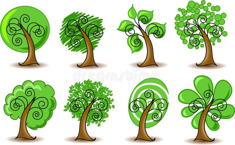 摘要设置了结构树向量 库存例证