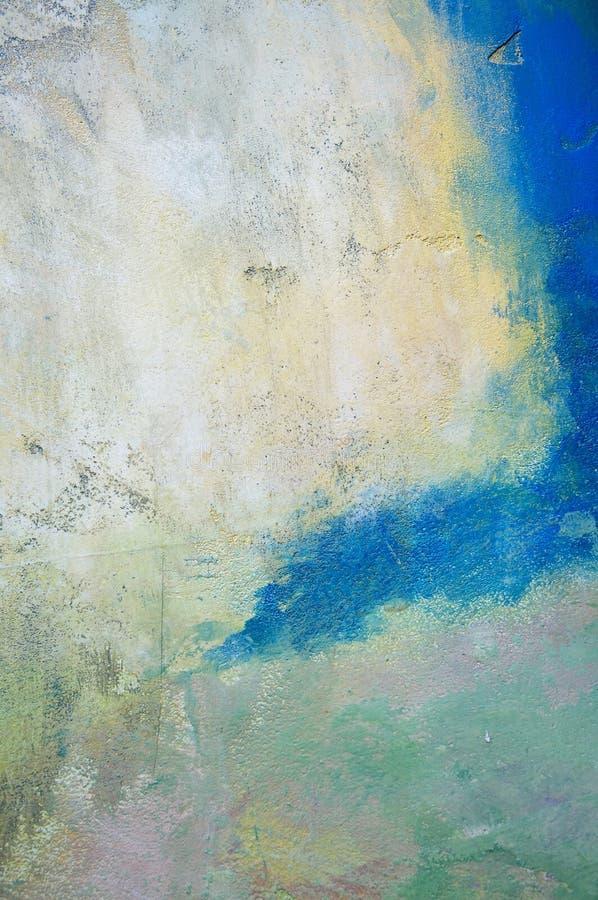摘要退了色grunge被绘的墙壁 库存照片