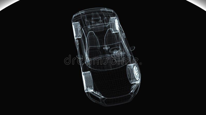 摘要透明现代汽车,3d回报计算机生成的背景 皇族释放例证