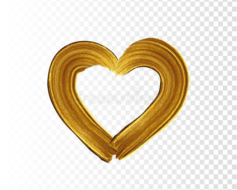 掠过冲程和纹理 心脏标志 传染媒介金油漆污迹冲程污点 摘要金子织地不很细艺术例证 库存例证
