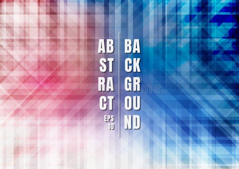 摘要镶边几何五颜六色的蓝色和红色重叠的背景技术样式 向量例证