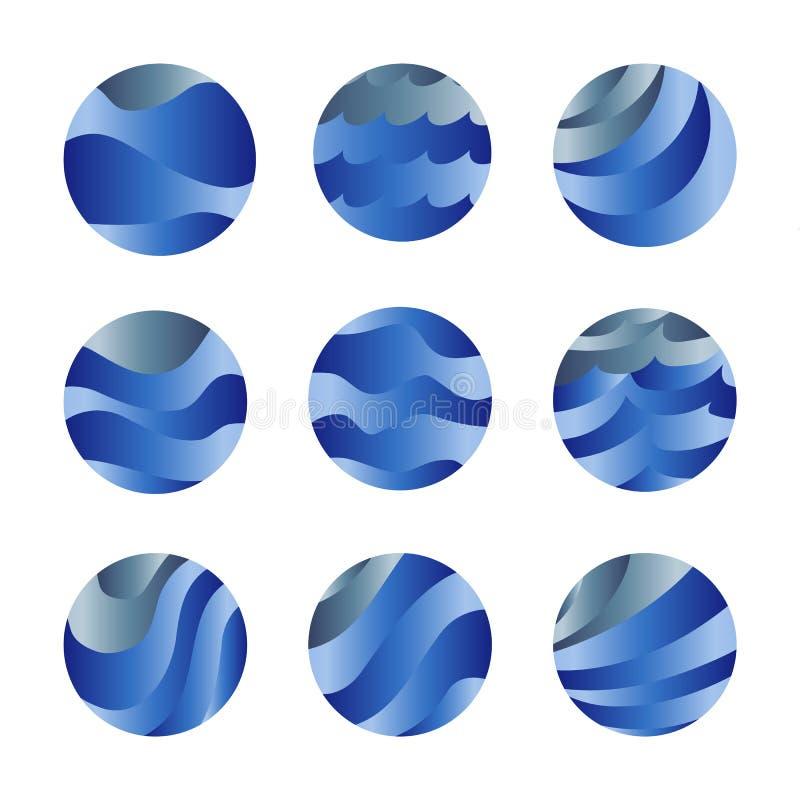 摘要隔绝了被设置的蓝色颜色海浪和天空云彩商标 水风格化传染媒介略写法收藏 来回 向量例证