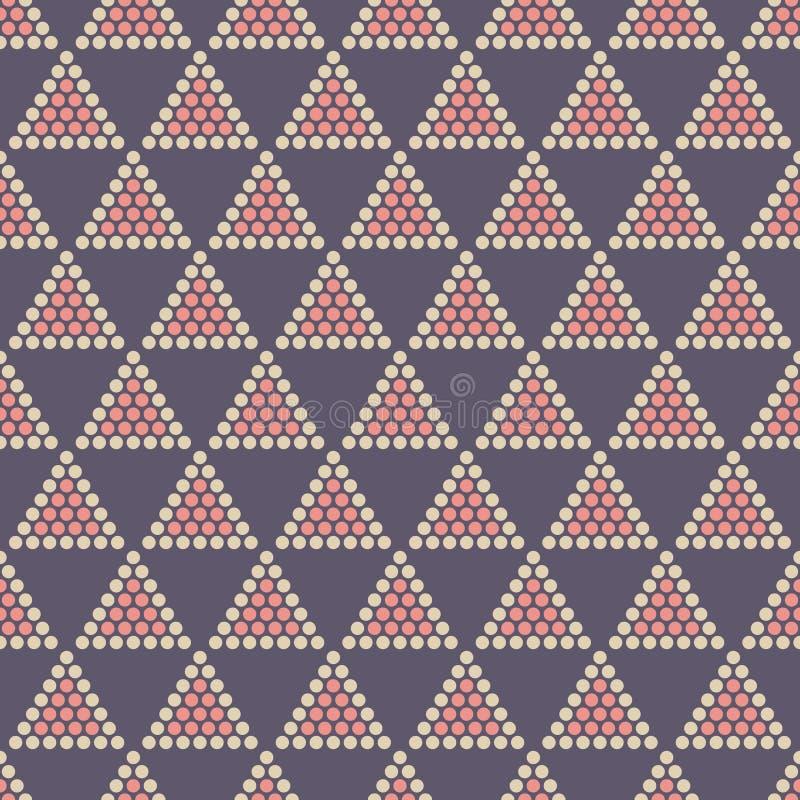 摘要颜色无缝的样式 r 重复有被加点的三角的几何瓦片 皇族释放例证
