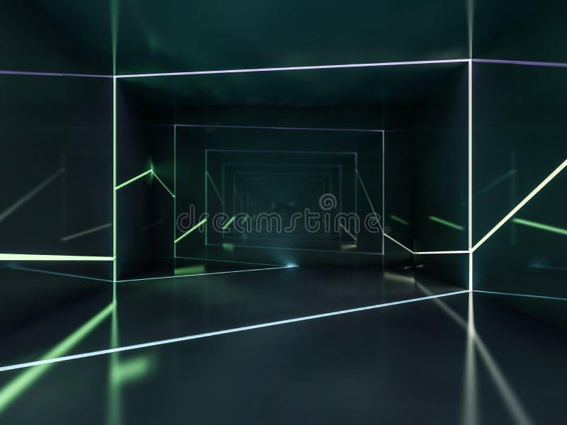 摘要黑暗的现代建筑学背景 3d翻译 向量例证