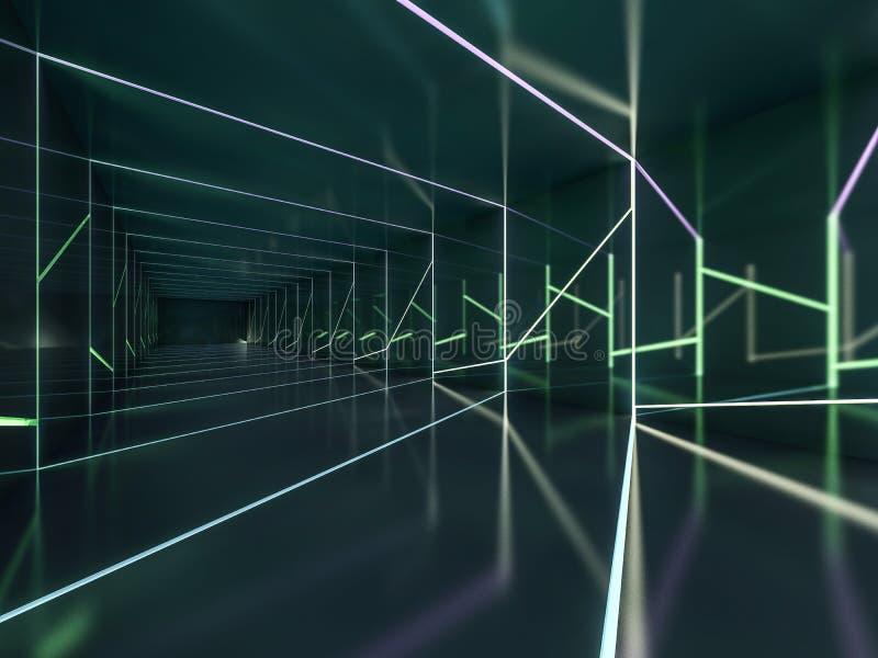 摘要黑暗的现代建筑学背景 3d翻译 库存例证