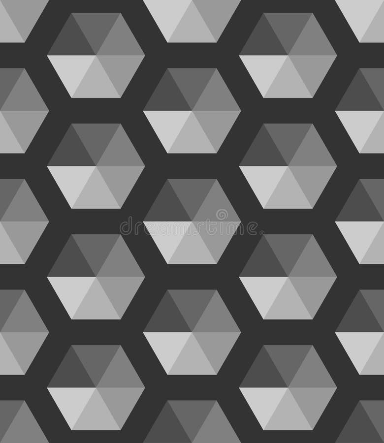 摘要黑白几何传染媒介墙纸 立方体样式背景 皇族释放例证