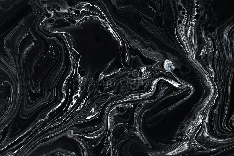 摘要黑色大理石纹理背景 油,丙烯酸漆混合样式 图库摄影