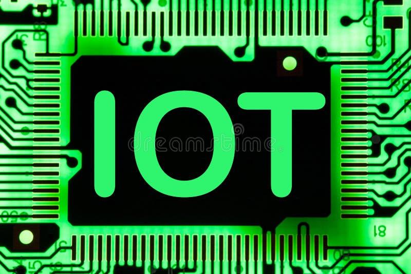 摘要,关闭Mainboard电子计算机背景 IOT,事互联网  皇族释放例证
