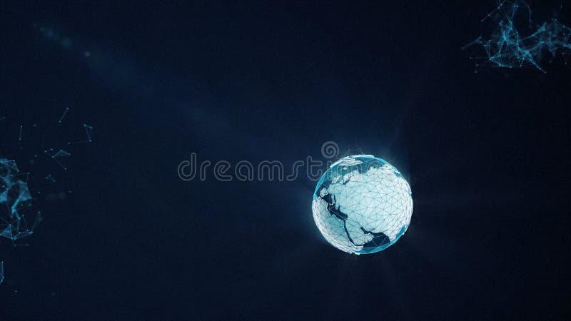 摘要,霓虹地球全球性网络连接了在深蓝空间背景的元素 抽象数字地球地球 库存例证