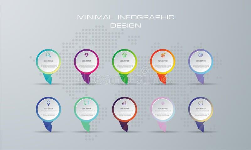 摘要3D数字例证Infographic 使用10选择 向量例证