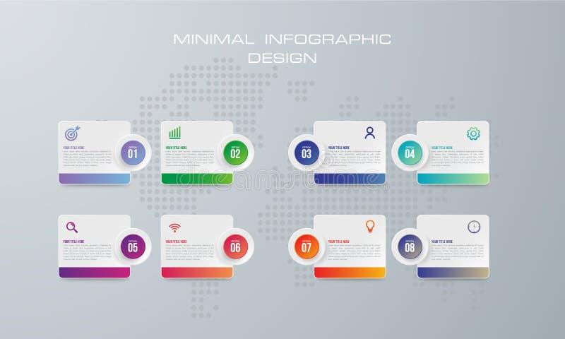 摘要3D数字例证Infographic 使用8选择 向量例证