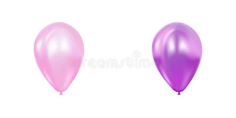 摘要3d现实飞行的气球集合 贺卡,横幅,海报 桃红色和紫色概念 皇族释放例证