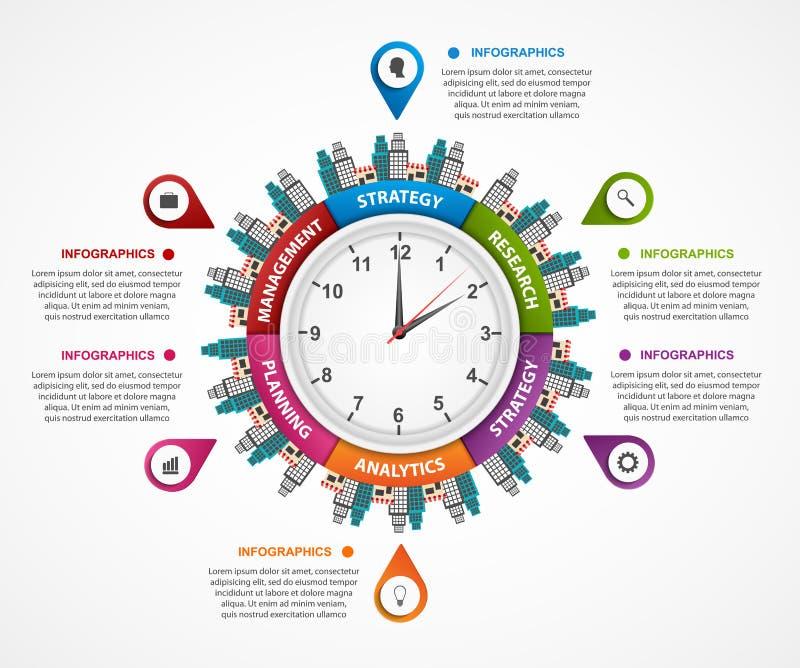 摘要infographic在时钟在中心 能为网站、印刷品、介绍、旅行和旅游业概念使用 向量例证