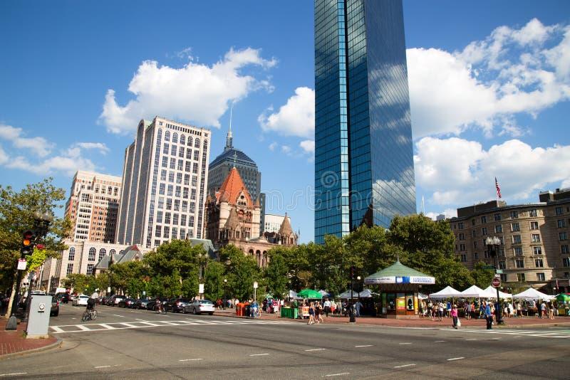 摩天大楼和历史在Copley广场,波士顿 免版税库存图片