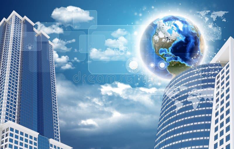 摩天大楼和地球与透明长方形 库存照片
