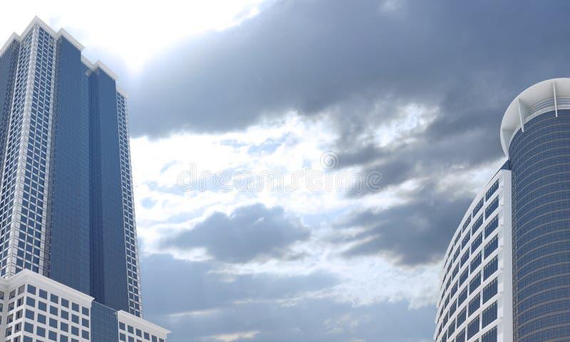 摩天大楼和晚上天空与云彩 库存照片