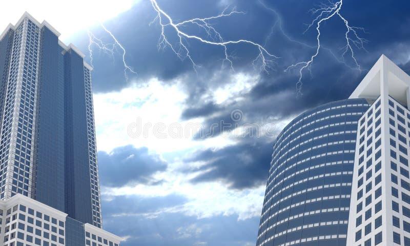 摩天大楼和晚上天空与云彩 免版税库存照片