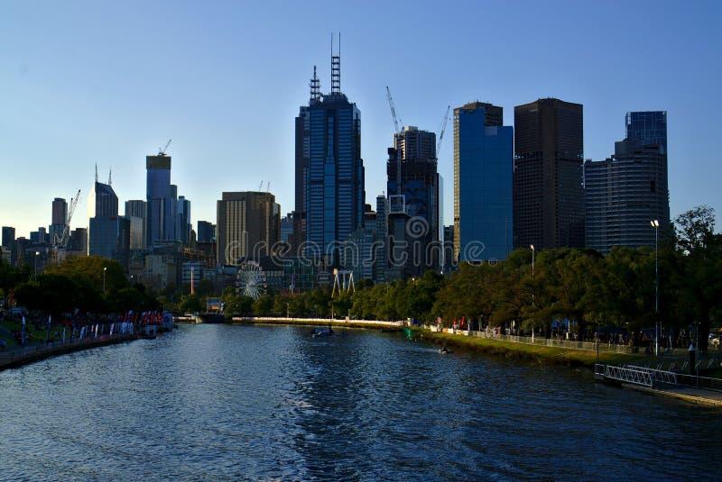 摩天大楼和河看法  库存照片