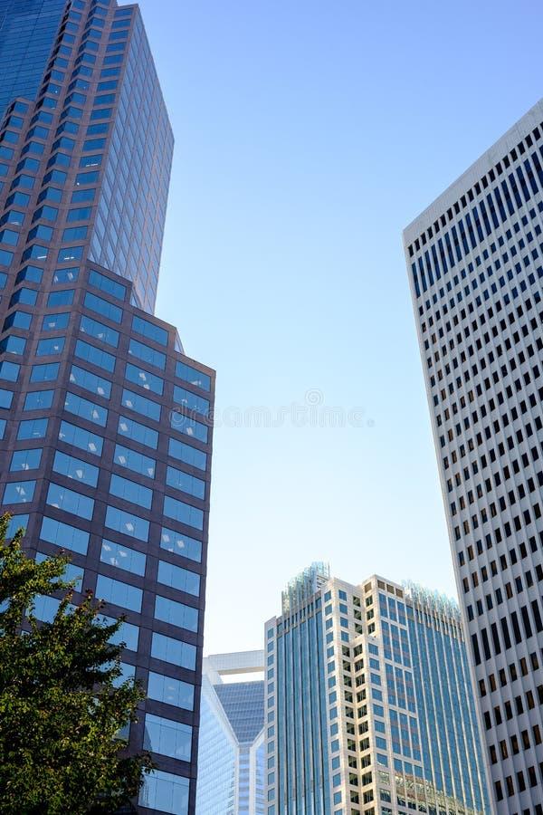 摩天大楼在傍晚 免版税库存照片