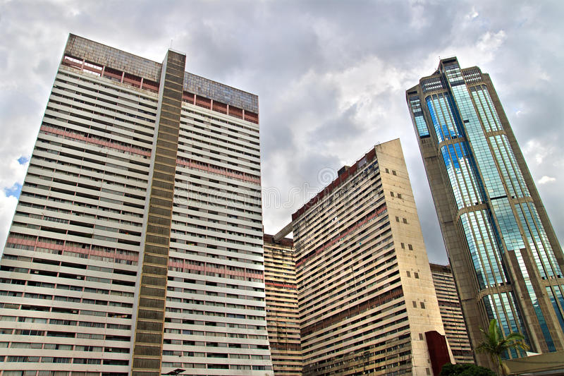 摩天大楼在加拉加斯,委内瑞拉的中心 免版税库存照片