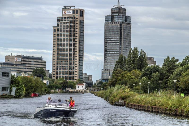 摩天大楼在距离在阿姆斯特丹荷兰2018年 免版税库存照片
