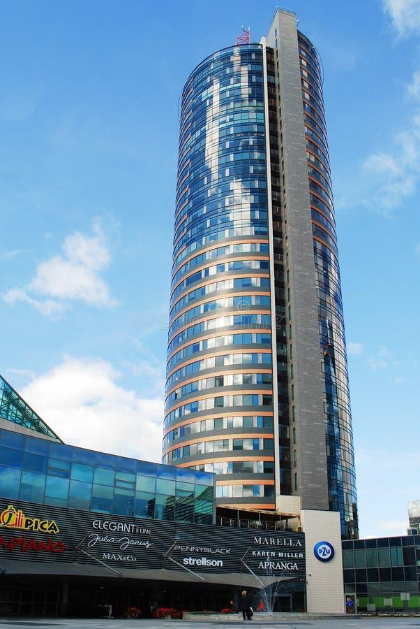 摩天大楼在2014年9月24日的维尔纽斯市 库存照片