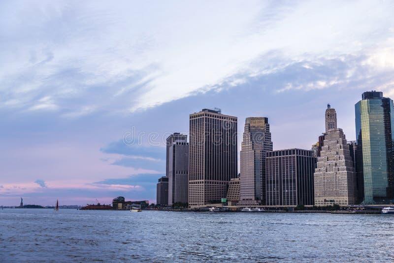 摩天大楼地平线在曼哈顿,纽约,美国 库存照片