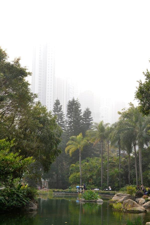 摩天大楼看法从香港公园的在香港,中国 免版税库存图片