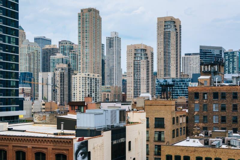 摩天大楼看法芝加哥,伊利诺伊近北区的  库存图片