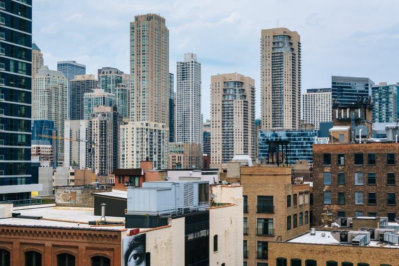摩天大楼看法芝加哥,伊利诺伊近北区的  免版税库存图片