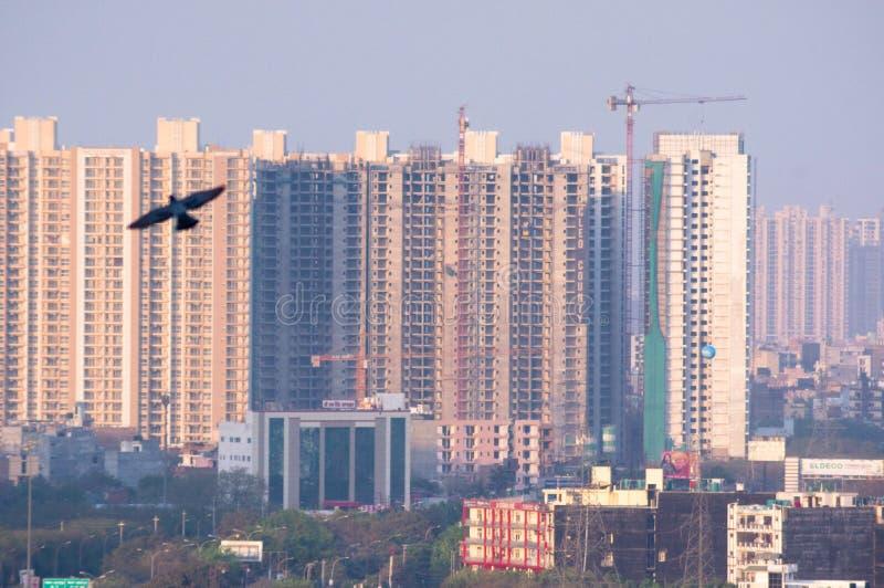 摩天大楼noida德里gurgaon的房子办公室空中射击  免版税图库摄影