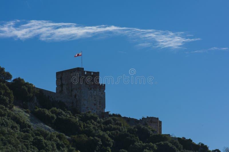 摩尔人城堡塔在Gibraltaqr 库存图片