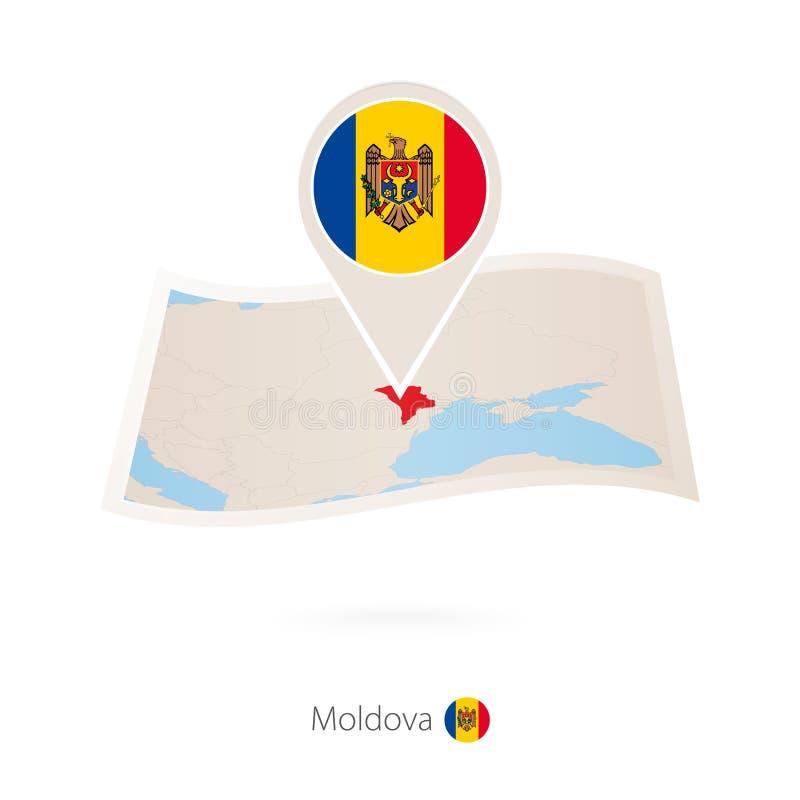 摩尔多瓦被折叠的纸地图有摩尔多瓦旗子别针的  库存例证