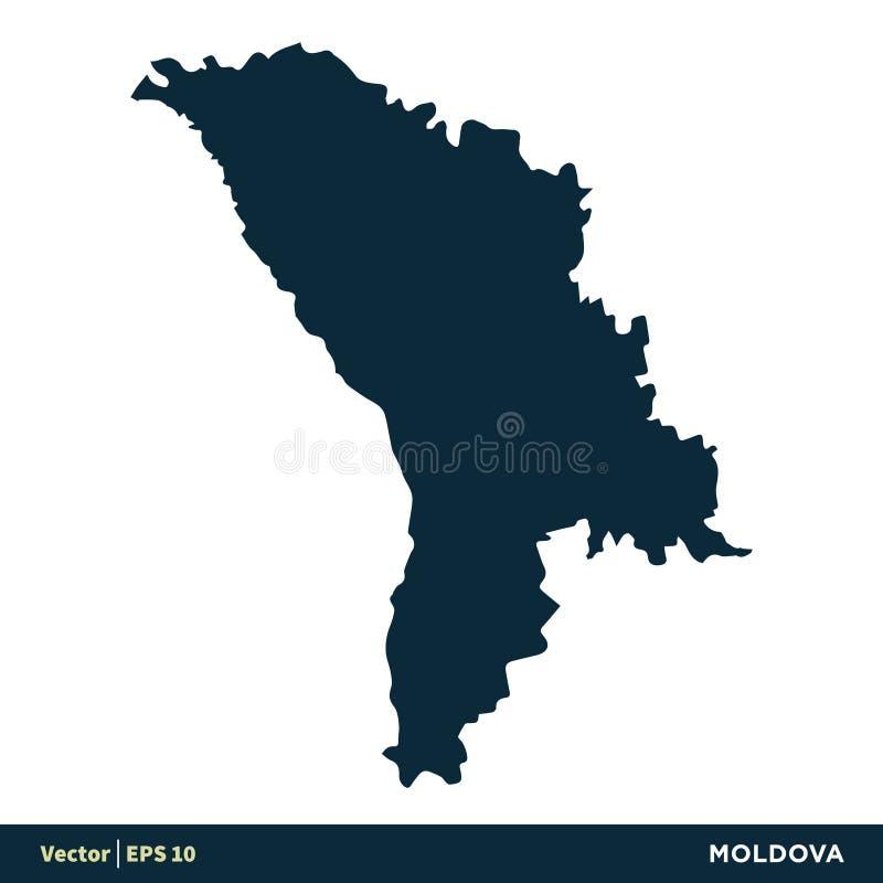摩尔多瓦-欧洲国家映射传染媒介象模板例证设计 o 库存例证